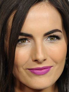 Whoa Camilla Belle Is Wearing Bright Matte Purple Lipstick - But The Good News Is I Did Find Out What Shes Wearing Here These Pics Are From The Recent Premiere Of Camillas New Movie Cavemen Celebrity Makeup Artist Brett Freedman Was The Man Behin Camilla Belle, Belle Makeup, Beauty Makeup, Purple Lipstick, Celebrity Makeup, Hazel Eyes, Cool Eyes, Beautiful Eyes, Lip Colors