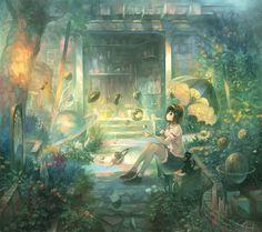 anime girl in garden