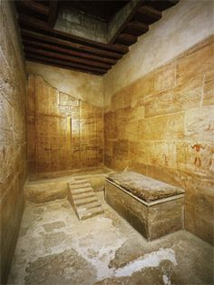 Mastaba of Kagemni, dynasty 6, Saqqara. the wood beamed roof imitated that of homes of the living.