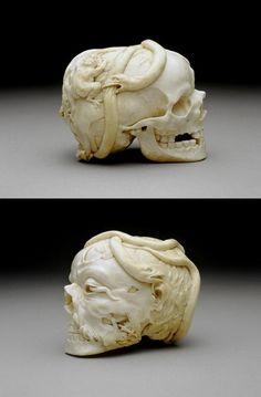 Memento mori ivory skull, made in Europe in the 17th century