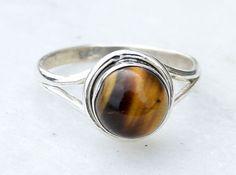 Tiger Eye Ring, Stone Ring, Tiger Eye Silver Ring, Silver Ring, Tiger Eye Ring, Sterling Silver Ring ,Size - US 5, 6, 7, 8, 9, 10