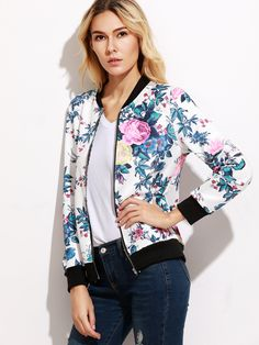 To find out about the Contrast Trim Floral Print Bomber Jacket at SHEIN, part of our latest Jackets ready to shop online today! Womens Fashion For Work, Fast Fashion, Fashion Outfits, Daily Fashion, Women's Fashion, Fashion Trends, Floral Jacket, Pink Jacket, Cheap Plus Size Lingerie