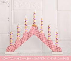 Dekortapaszos adventi gyertya Dekorella Shop http://dekorellashop.hu/ Washi Tape Advent Candle Holder