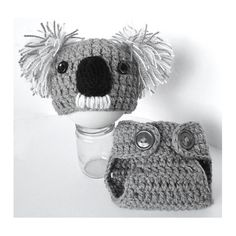 Newborn Baby Koala Bear Beanie Hat and Diaper Cover by KBeanies