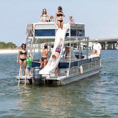 destin pontoon boat rental with slide