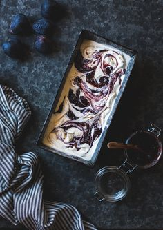 Bourbon Fig Butter + Smoked Sugar Ice Cream with a Fig Swirl