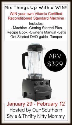 Create foods like all the top chefs with the simple push of a button. Mix things up! Enter to win your own Vitamix Certified Reconditioned Standard Machine!