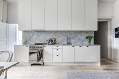 Marble kitchen and artwork