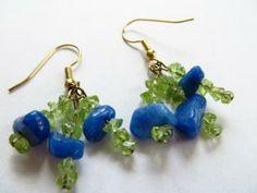 Dangle earrings, Amazonite, Peridot, cluster earrings, handmade earrings by JosiannesJewelry for $12.00