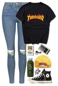 """""""Thrasher"""" by zarryalmighty ❤ liked on Polyvore featuring Topshop, Converse, Kale, Zippo, Urban Outfitters and thrasher"""