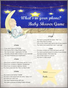 Baby Shower Game- Twinkle Twinkle Little Star Theme