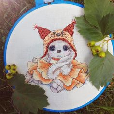 "Finished work by pattern ""Bunny Squirrel"" #sa_stitch #sa_pattern #pattern #crossstitch #bunny"