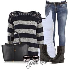 Cool casual outfit with combat boots..