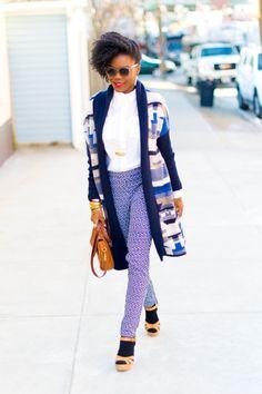 print pants + sweater + sandals