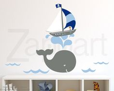Wall Decal Whale & Boy Sailboat with Personalized Name by Zapoart, $94.00