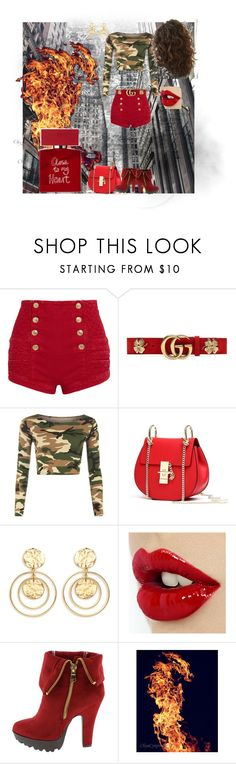 """Close to my heart"" by svetlozeme ❤ liked on Polyvore featuring Pierre Balmain, Gucci, WearAll, Kenneth Jay Lane and Bella Freud"