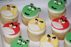 Angry Bird Cupcakes ♡ by Mary @ Celebration by Design | facebook.com/celebrationbydesign