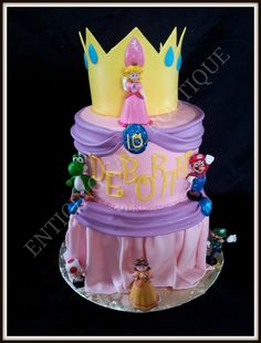 Princess Peach Super Mario Brothers fondant birthday cake with crown