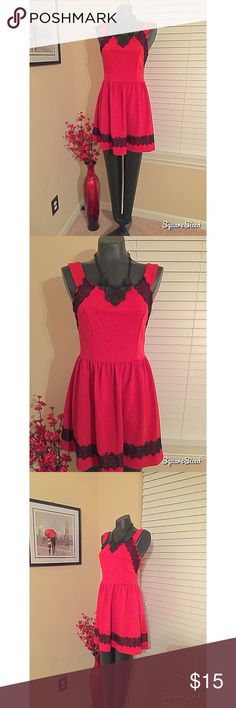 Flirty red dress with black lace detail! ❤️ Very cute red skater dress with black lace detail! New! Great quality from Dillard's! Perfect for a sweet Valentines Day date! ❤️ Dresses