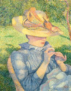 Pointillism Painting - The Straw Hat, 1890 by Theo van Rysselberghe Théo Van Rysselberghe, Muse Kunst, Muse Art, Post Impressionism, Traditional Paintings, Classical Art, Beautiful Paintings, Drawing Reference, Art Boards