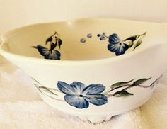 Wild blue flowers on a white bowl blue flowers by POTTEDLADY2001