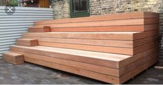 His is my favorite way to incorporate steps into the bench idea. Deck Steps, Outdoor Steps, Outdoor Landscaping, Backyard Patio, Outdoor Gardens, New Patio Ideas, Outside Living, Outdoor Seating, Patio Design