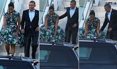The first couple were stepping off Air Force One at the Palm Springs International Airport on a balmy Friday evening when a gust of wind nearly blew up the voluminous skirt of Mrs Obama's green-and-black frock.