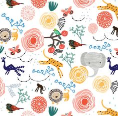 Elephant Jungle Fabric  Jungle Flowers By by Spoonflower on Etsy