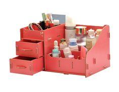 niceeshop(TM) Multifonctionnel Mignon DIY Organiseur de Bureau/Rangement Maquillage en Bois avec Tiroirs et Compartiments, Rouge Pastèque: Amazon.fr: Cuisine & Maison