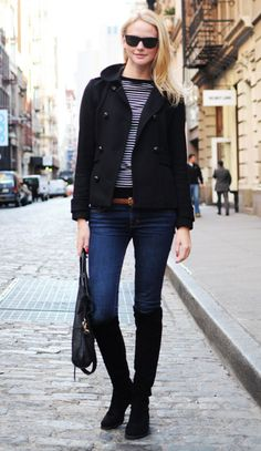 Recognize the stylish ease of wardrobe classics like a wool peacoat, striped shirt and everyday blue jeans