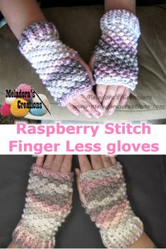 Raspberry Stitch Finger Less Gloves - Free Crochet Pattern Your place to learn to crochet the Raspberry Stitch Finger Less Gloves for FREE. By Meladora's Creations - Free Crochet Patterns and Video Tutorials Crochet Fingerless Gloves Free Pattern, Crochet Mitts, Fingerless Mittens, Knit Crochet, Ravelry Crochet, Crochet Crafts, Easy Crochet, Free Crochet, Crochet Wrist Warmers