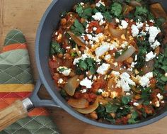 Chickpeas with Tomatoes, Spinach & Feta. Text, photograph and recipe © Kitchen Parade from A Veggie Venture, All Rights Reserved. Phase 1.