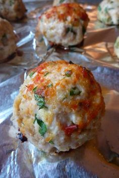 Chicken Parmesan Meatballs  -delicious! No parsley, but the bread crumbs I used had some.  1 lb of ground chicken (which is hard to find these days) made 10 good sized meatballs. I don't eat pork, but somehow these tasted truly Italian & like they had sausage in them!