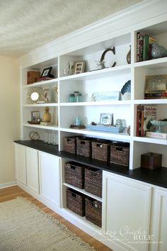 DIY Bookcase Wall - Thrifty DIY - artsychicksrule.com #bookcase #diy