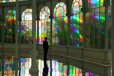 Respirar - Una Mujer Espejo/To Breathe - A Mirror Woman: Palacio de Cristal covered in diffraction film by Kimsooja. More: http://www.kimsooja.com/projects/Crystal_Palace_2006.html http://utnereader.tumblr.com/post/26914137024# Video: http://www.kimsooja.com/images/projects/palacio_de_cristal.html