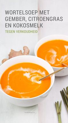 Carrot soup with ginger and lemongrass - good for colds - Foodie Feest Soup Recipes, Gourmet Recipes, Cooking Recipes, Cooking Blogs, Cooking Classes, I Love Food, Good Food, Yummy Food, Quick Healthy Meals