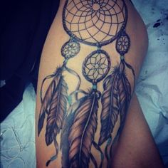 Dream Catcher Tattoo On Right Thigh - 55 Thigh Tattoo Ideas | Art and Design