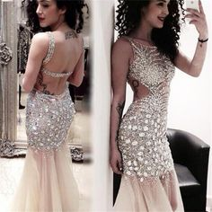 Long Sexy Sparkle Open Back Mermaid Gorgeous Shinning Popular Pretty Evening Prom Dresses, PD0102