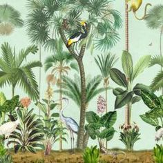 Shadow Palms • Tropical Palm Tree Mural • Milton & King USA Palm Tree Wallpaper Mural, Bird Wallpaper, Summer Garden, Palms, Kerala, Palm Trees, All The Colors, Orchids, Palmas