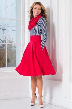 60a8892b2 Red Stretch Midi Skirt Pleated Woman Skirt with Pockets