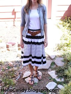 navy striped skirt | Modest Fashion | gladiator sandals | Cheap