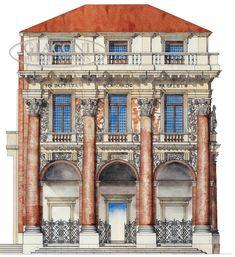Palladio Loggia del Capitaniato in Piazza dei Signori, Vicenza - Italy Classic Architecture, Architecture Drawings, Historical Architecture, Ancient Architecture, Art And Architecture, Architecture Details, Andrea Palladio, Vicenza Italy, Urban Design Plan