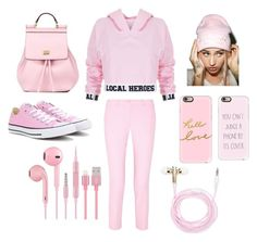 """""""Pink"""" by nastusha03406 ❤ liked on Polyvore featuring Local Heroes, Michael Kors, Converse, Dolce&Gabbana, Casetify and Forever 21"""