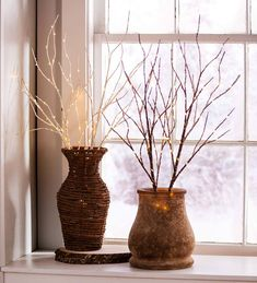 Indoor/Outdoor Lighted Birch Branches Set Of 2 - Brown - Plow & Hearth