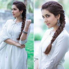 Pretty for Promotions Styled by Assisted by Ram Photos, Half Braid, Daily Hairstyles, Special Dresses, Celebs, Celebrities, Indian Designer Wear, Indian Wear, Silver Jewelry