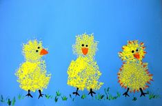 Sponge-painted chicks. They look fuzzy like chicks are.-Emma would love this!
