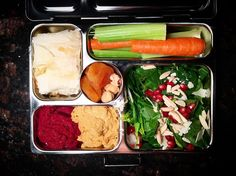 A nutritious lunchbox filled with lunch and snacks to get through the work day.  Today in #thelunchboxproject: Spinach salad with pomegranates slivered almonds and shaved Parmesan beet hummus and roasted red pepper hummus with carrots and celery for dipping Homemade spanakopita roasted hazelnuts and grapefruit half and 2 almond meal chocolate chip cookies (not pictured)  #thelunchboxproject #lunch #healthy #snacks #healthyeating #homemade #salad #spanakopita #greek #hummus…