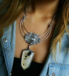 Soul of the Dragon - Plume Agate Sterling Silver Necklace