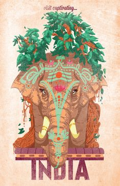 A SLICE IN TIME Visit Captivating India Elephant Vintage Indian Asian Travel Art Advertisement Collectible Wall Decor Poster. Poster Measures 10 x inches Vintage India, Vintage Art, Old Poster, Retro Poster, Travel And Tourism, India Travel, Spain Travel, Bali Travel, Mexico Travel