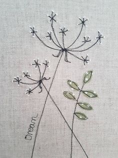 Original textile picture cow parsley picture cow parsley